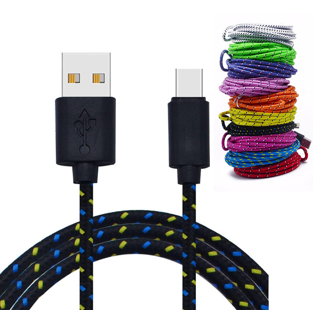 3M/10FT USB Type C Cable USB 2.0 to USB Type-C Nylon Fast Charging & Sync Data Cable for Xiaomi 4C /LeTV / Nokia N1 / Nexus 5X