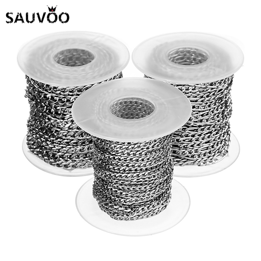 SAUVOO 10Yards/Roll Silver Color Stainless Steel Bulk Chain NK Figaro Chain Necklaces 3mm/4mm/5mm Width For Diy Jewelry Making