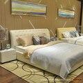 Diseñador moderno bienes cuero genuino de la cama / soft / cama doble tamaño king / queen muebles para el hogar dormitorio estilo caliente de la venta OP-SH661