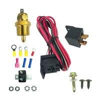 1 conjunto elétrico ventilador de controle elétrico kit instalação com grau termostato se encaixa para buick ford chrysler acessórios do carro|Fáscias| |  -