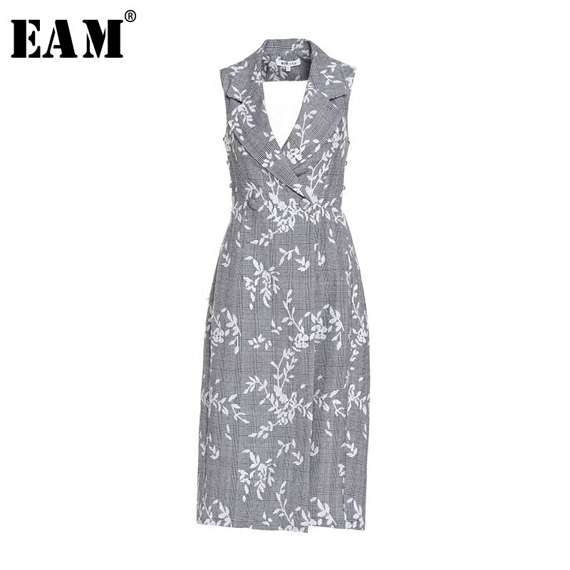 [EAM] 2018 Autumn Summer New Fashion V-neck Sleeveless Sexy Backless Sashes Embroidered Loose Women Long Fress RA147