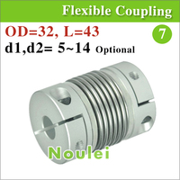 OD 32x43mm ballscrew and motor shaft stainless steel bellows coupling 8mm 5mm to 12mm