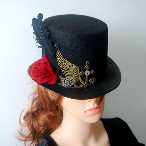 DIY Gothic Victorian Steampunk Black Top Hat for Male Female