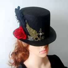 DIY Gothic Victorian Steampunk Black Top Hat for Male & Female