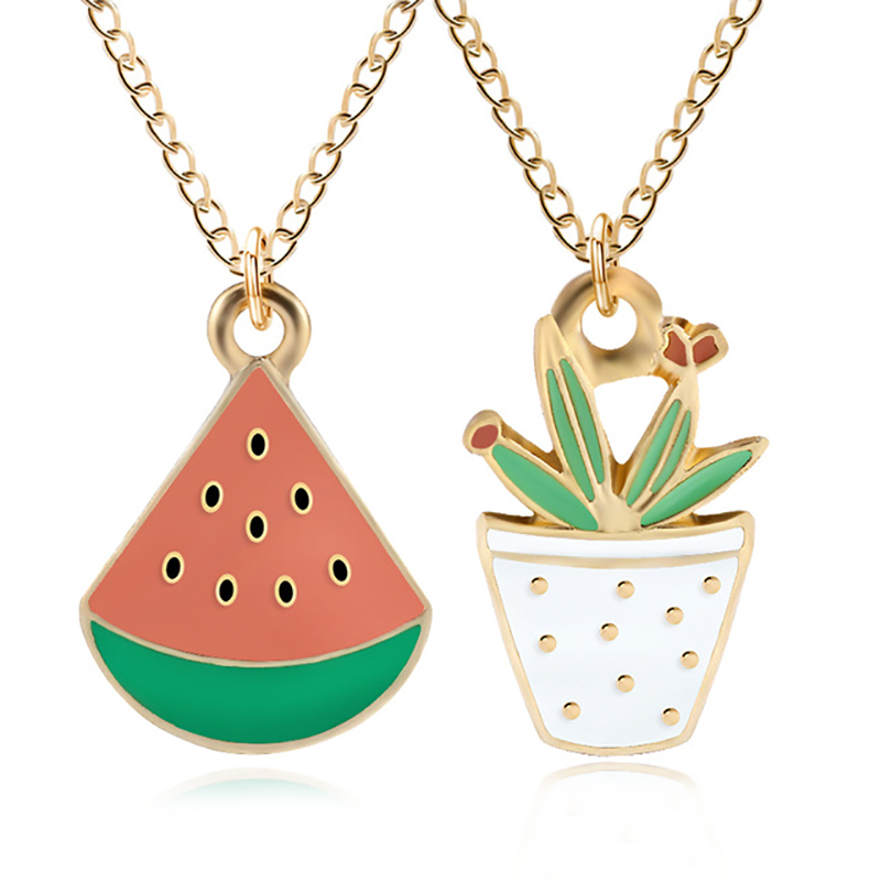 Creative DIY Fashion Watermelon Pendant Kawaii Cartoon Potted Plant Necklace Woman And Christmas Gift DropShipping