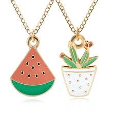 Creative DIY Fashion Watermelon Pendant Kawaii Cartoon Potted Plant Necklace Woman And Christmas Gift DropShipping