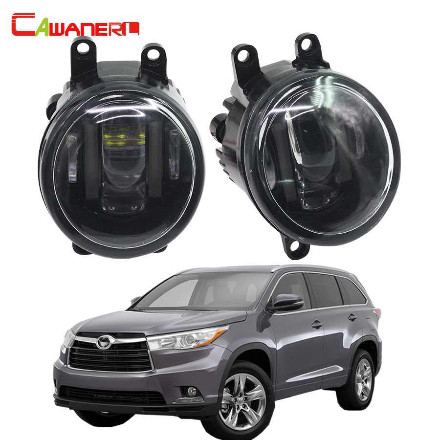 Cawanerl For Toyota Highlander 2008-2012 Car Styling Left + Right Fog Light LED DRL Daytime Running Lamp White 12V 2 Pieces cawanerl for toyota highlander 2008 2012 car styling left right fog light led drl daytime running lamp white 12v 2 pieces