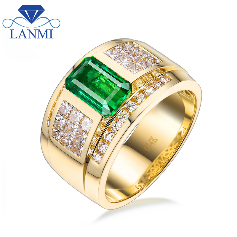 Luxurious Pure Colombia Emerald Marriage ceremony Males's Rings Strong 14Ok Yellow Gold Princess Diamond Engagement Jewellery Ring For Husband