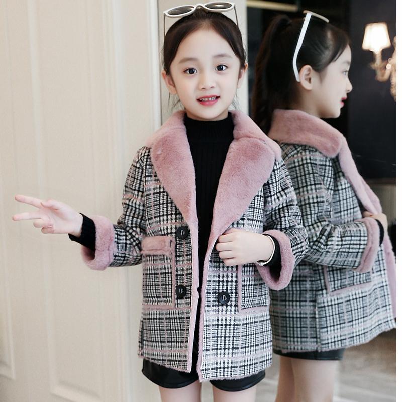 Children clothing 2018 new winter children's woolen coat casual plaid thickening plus velvet girls leather woolen coat 3-12 drape plus size plaid coat