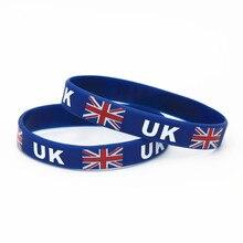 цена на 1PC United Kingdom UK National Flag Silicone Wristband Blue  Football Sports Silicone Rubber Bracelets&Bangles SH222