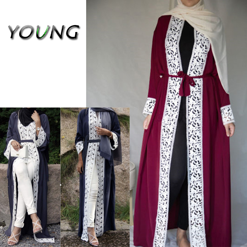 Mode Musulman Dentelle Maxi Robe Abaya Ouverte Cardigan Longue Robe Robes Tunique Kimono Jubah Moyen-Orient Ramadan Arabe Islamique Vêtements