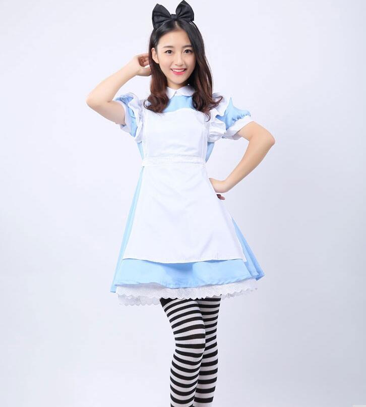 3pcs Adult Girl Lolita Dresses French Maid Cosplay Costume