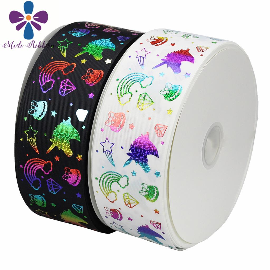 3 75mm Unicorn Star Diamonds Rainbow Hologram Foil Grosgrain Ribbon DIY Xmas Party Decor Gift Packing