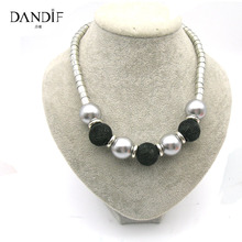 Dandie Silver Beads And Black Tennis Balls Necklace Fashion Statement Bead