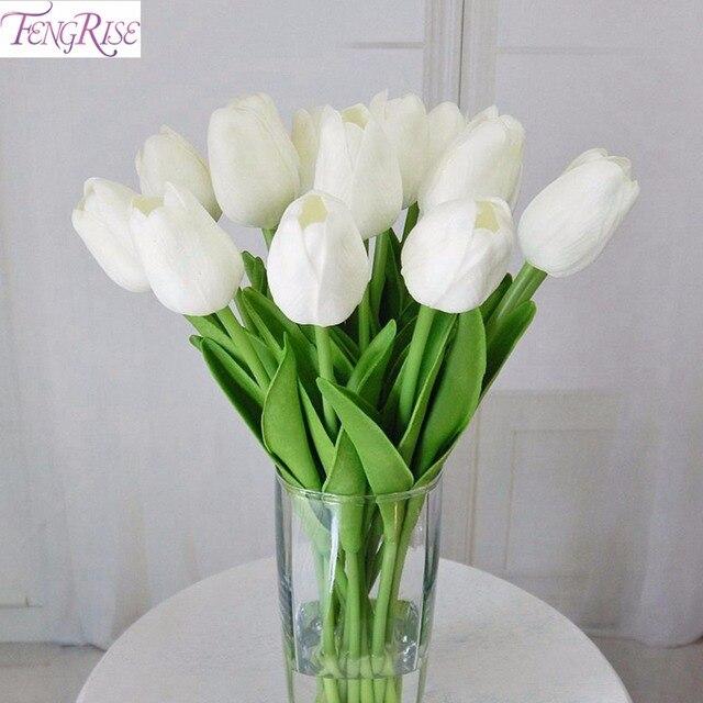 FENGRISE 30pcs PU Mini Tulip Real Touch Flowers Artificial Flower for Party  Bridal Bouquet Wedding Decorative Flowers Wreaths feadc79bac
