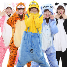 Adults Animal Onesie Overall Pyjama Women Men Cartoon Family Pajama Party Onsie Pikachu Unicorn Minions Funny Cute Suit Winter