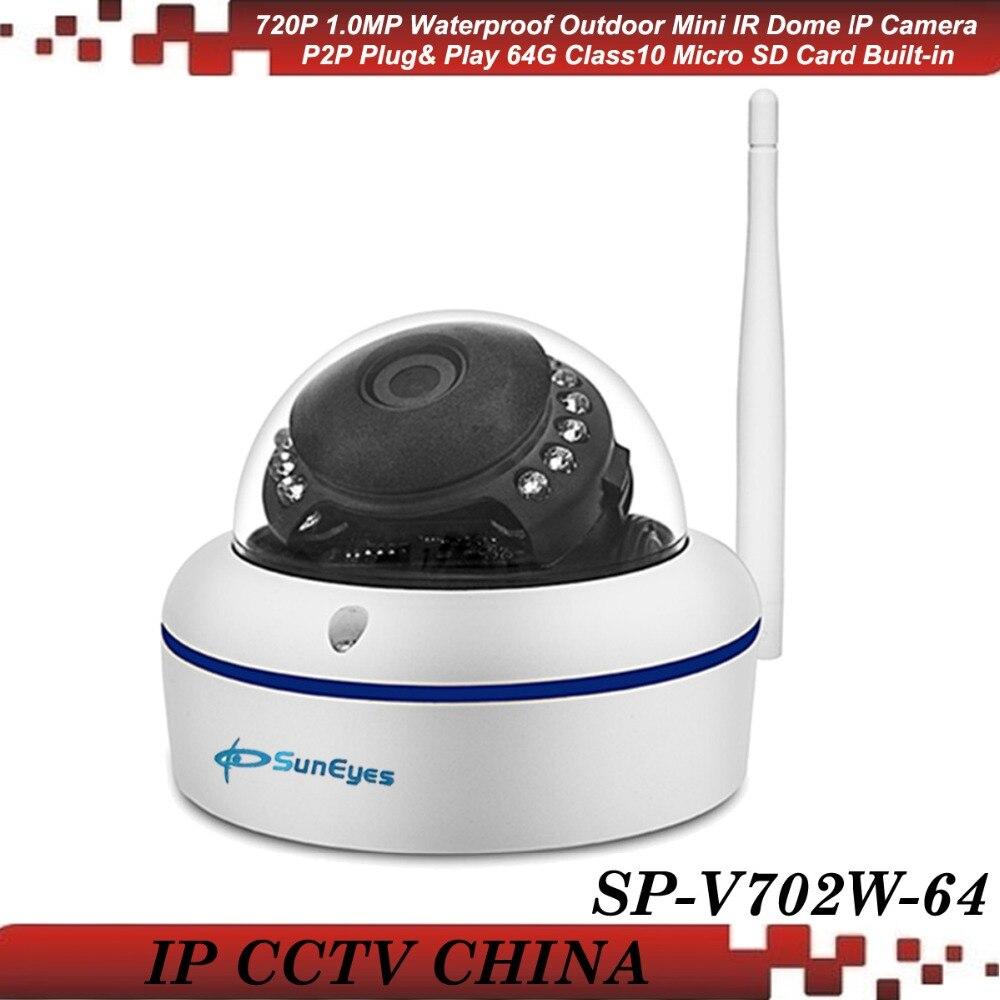 купить SunEyes SP-V702W-64 720P HD Wireless Dome IP Camera with Free 64G Class10 Micro SD Card Built-in IR Night Vision Free P2P недорого
