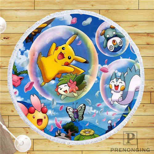 Personalizado DIY personalizado tela de microfibra Pokemon (3) toalla de playa redonda impresa a petición 150 cm #19-01-28-3-89