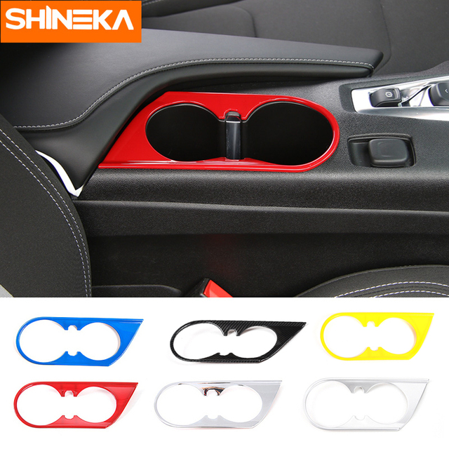 SHINEKA ABS Car Styling Front Cup Holder Decoration Cover Trim Frame Sticker 6th Gen for Chevrolet Camaro 2017