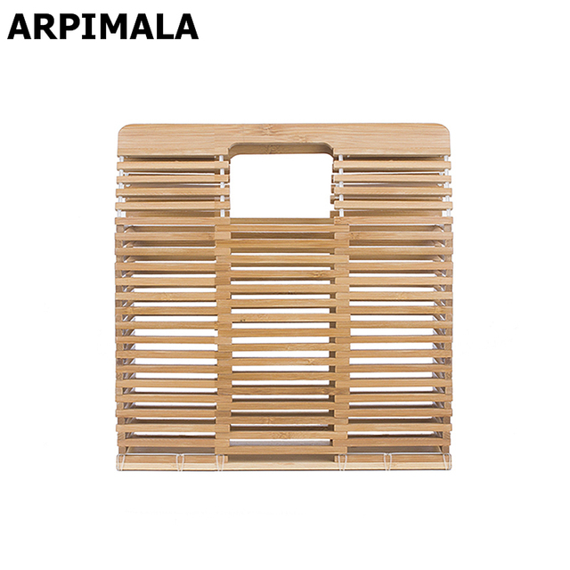 ARPIMALA 2017 Luxury Designer Beach Bags Small Fashion Bamboo Bag Women Travel Straw Tote Clutch Trunk Ladies Hand Bag Handbags
