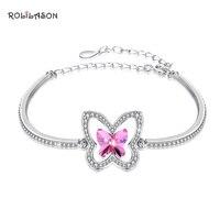 9.4g Butterfly Shape 925 Sterling Silver Pink Zircon Bracelet Party Gift LB005