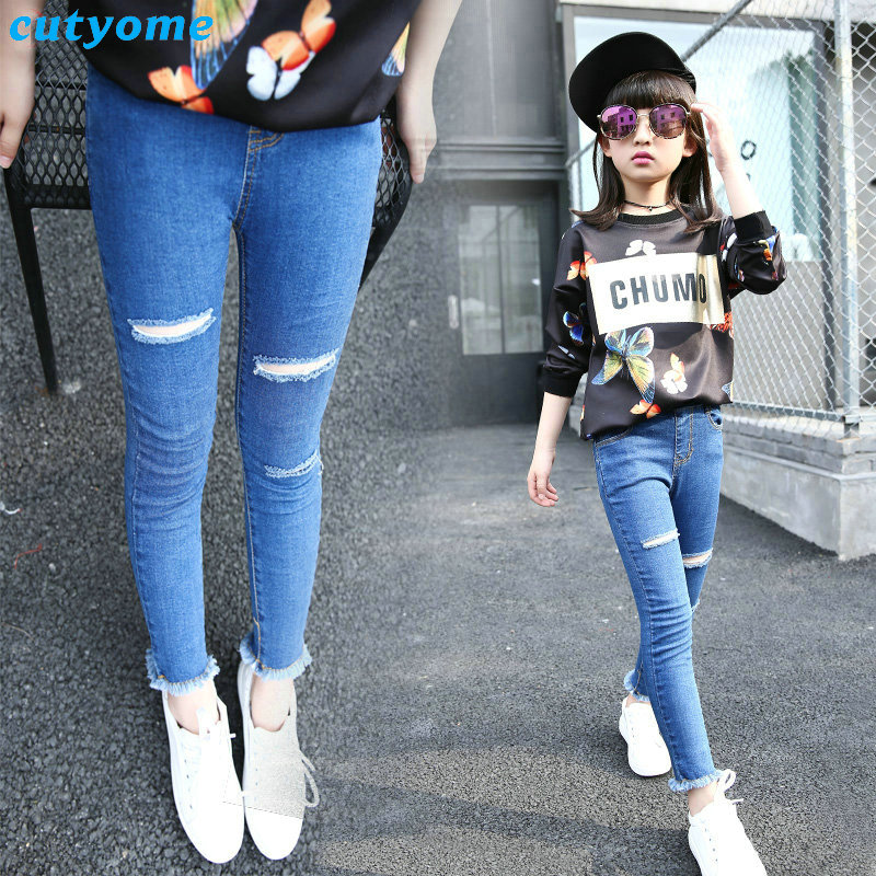 81c63969e00 Ripped Jeans Pants For Baby Girls Elastic Waist White/black/blue Cotton  Denim Trousers For Kids Girl Toddler Children Clothes -in Jeans from Mother  & Kids ...