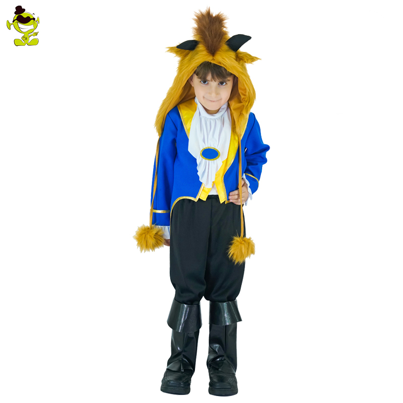 2017 Kids Beauty and the Beast Cosplay Boy Costumes Prince Adam party Cosplay Clothes Adam Child uniform halloween Party Clothes