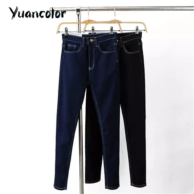 autumn Women Jeans High Waist Elastic Skinny washed Pencil Pants Denim Fit spring female casual denim Trousers Black blue free shipping women s skinny pants jeans female jeans belt clothing pencil pants elastic women s trend