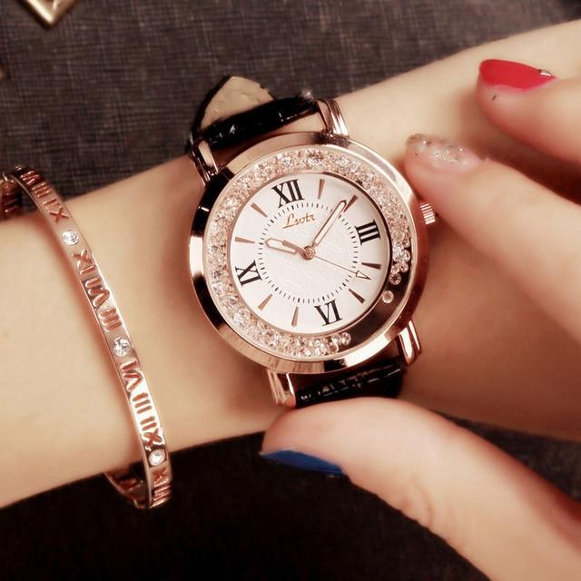 Hot Marca De Luxo Diamante Moda Strass Relógio De Couro Casual Vestido De  Quartzo-relógio 61e244cfb7