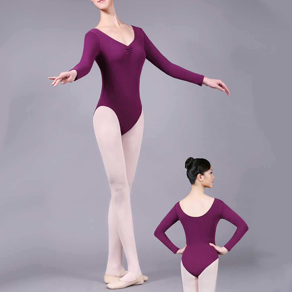 Long Sleeve Ballet Leotard Black Shiny Spandex Lycra Ballet Dance Bodysuit  Girls Gymnastics Leotards Ballet Practice Dance wear