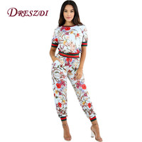 Dreszdi Fashion Autumn Floral Printed Women Two Piece Set Ribs Hem Casual Short Top & Ankle-Length Pants Sets