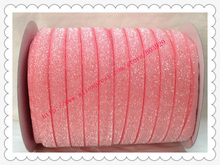 "3/8"" Elastic Frosted Watermelon Glitter Velvet Ribbon"