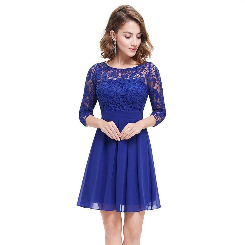 New Fashion Royal Blue Chiffon Lace Women Clothing A Line