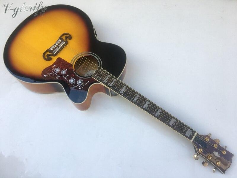 Bonne qualité 42 pouces jumbo acoustique-électrique guitare