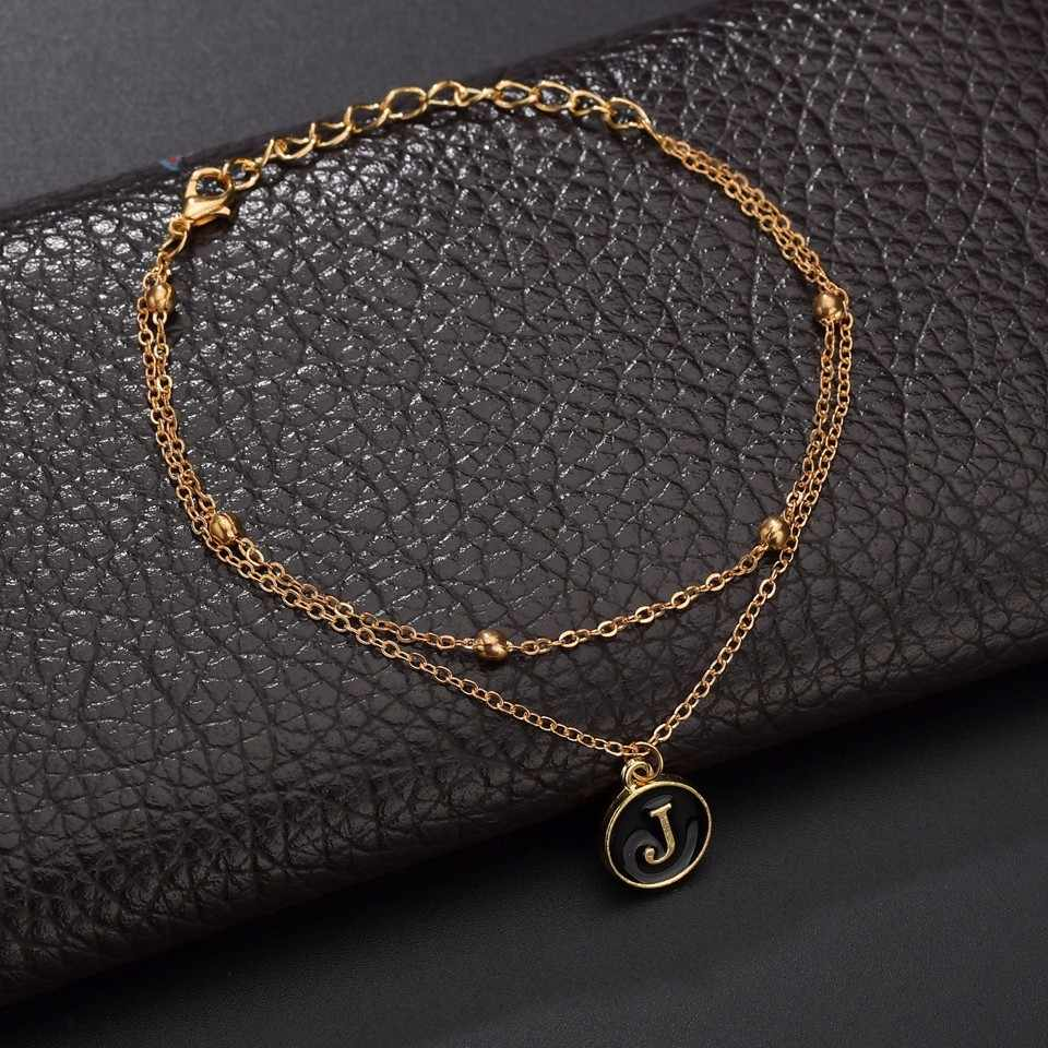 26 Huruf Rhinestone Gelang Wanita BFF Huruf Awal Gelang Emas Perak Rantai Logam Persahabatan Buatan Tangan Natal Hadiah Perhiasan