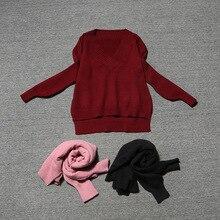 2016ยุโรปสตรีแฟชั่นของฤดูใบไม้ร่วงและฤดูหนาวลึก-Vผิดปกติบางคอแขนยาวถักหญิงเสื้อผ้าชุดDWT4884