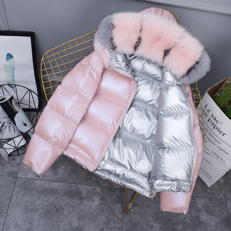 Fashion glossy   coat   hooded fox fur collar thicken   down     coat   female warm Parkas winter loose short   down   jacket Double-sided wear