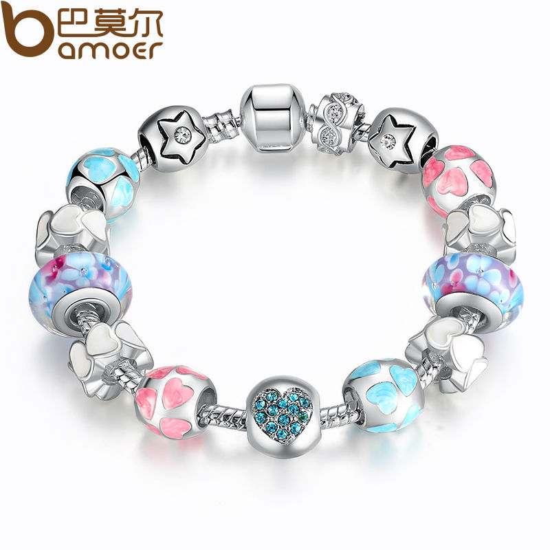 bamoer aliexpress silver heart start crystals love colorful girl murano beads bracelet for new year gift pa1871