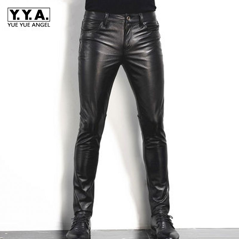 2019 New Fashion Mens Long Pants Genuine Leather Cow Slim Fit Motorcycle Biker Male Trousers Black Plus Size Formal Pants Skinny