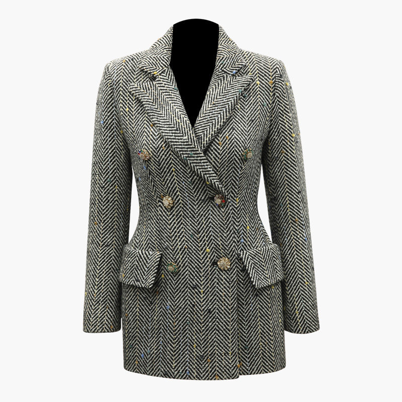 Spring Fall European American Women Office Lady Long Plaid Blazer Double Breasted Diamonds Buttons Runway Weaving Blazers