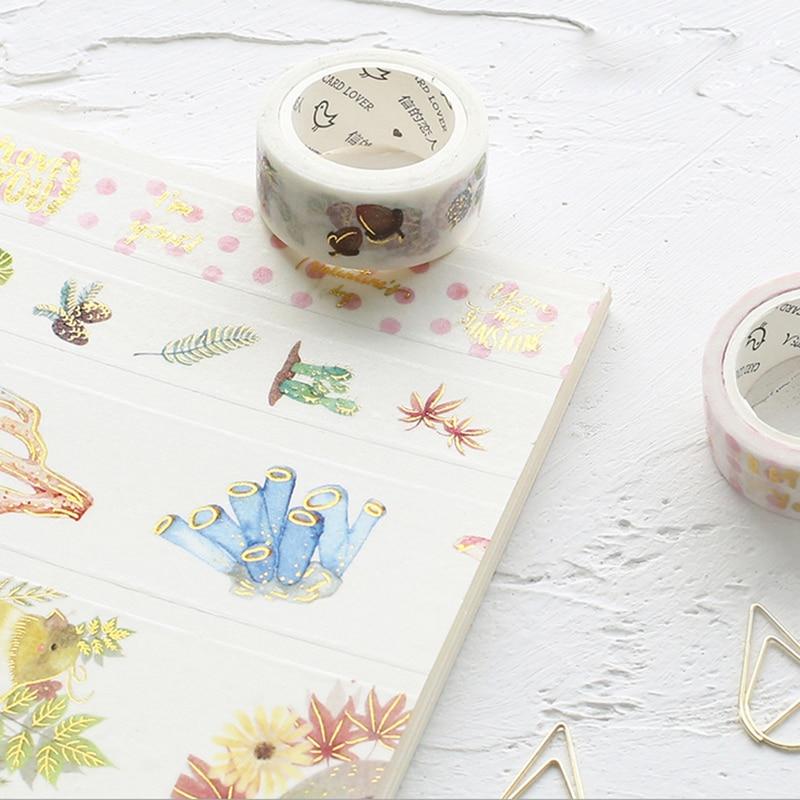 все цены на  1X Bronzing series washi tape sticker scrapbooking planner masking tapes office adhesive kawaii DIY seal stationery paper tape  онлайн