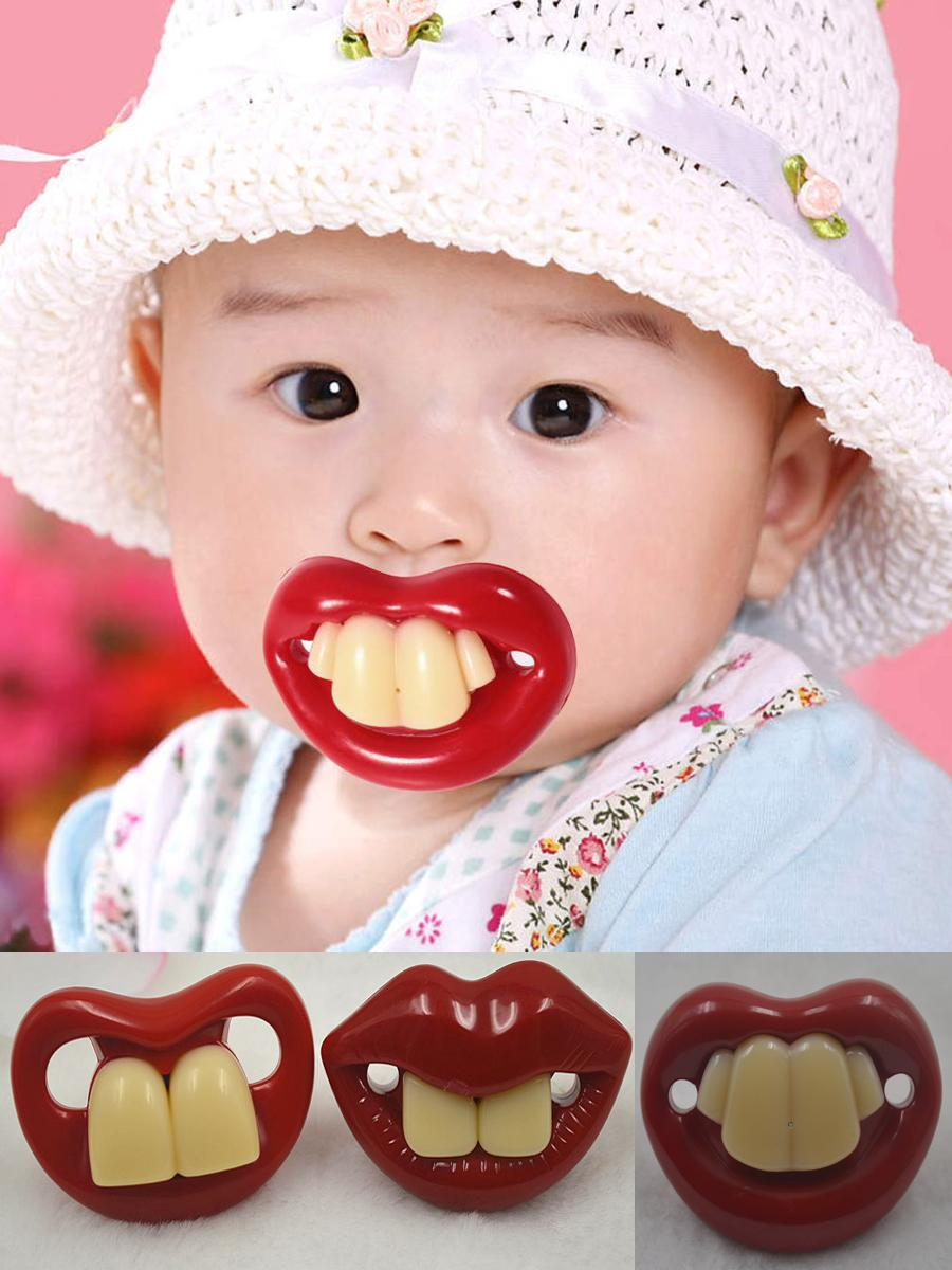 2017 New Funny Dummy Pacifier Novelty Teeth Moustache Baby