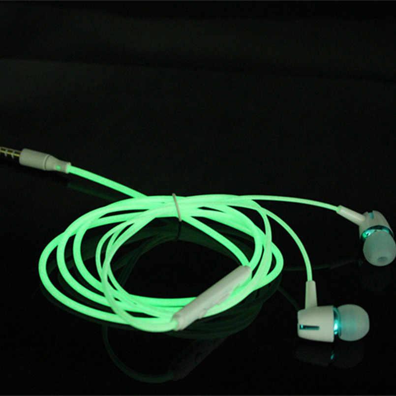 كامل متوهجة سماعة 3.5 مللي متر سماعات ستيريو سلكية في سمّاعة أذن سحاب مصباح مضيء توهج سماعات الأذن إلغاء الضوضاء ميكروفون