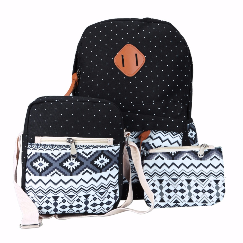 40ab963b5c62 3Pcs Sets Backpack Korean Canvas Printing Women School Bags for Teenage  Girls Ethnic Back Pack Laptop Backpacks Bolsa Mochila-in Backpacks from  Luggage ...