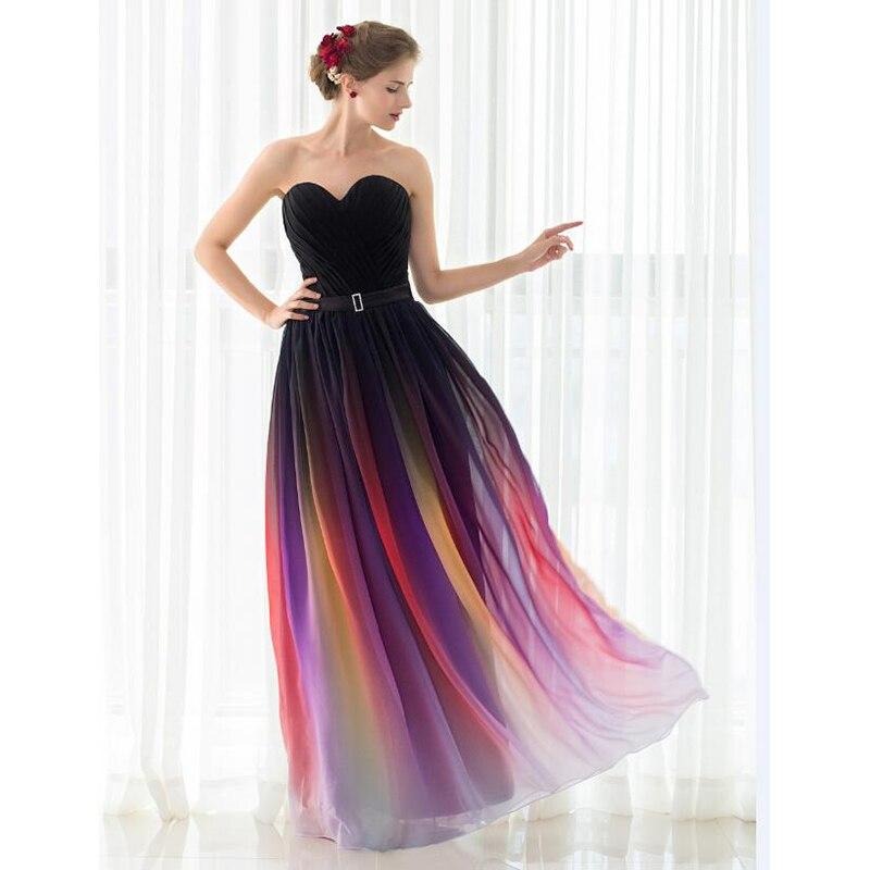 d4464990a91f SHAMAI Nuovo Gradiente Colorato Sexy Dresses Ombre Chiffon Vestito Da  Promenade del Vestito Da Sera Senza Spalline Pieghe Donne Occasione Vestito  ...