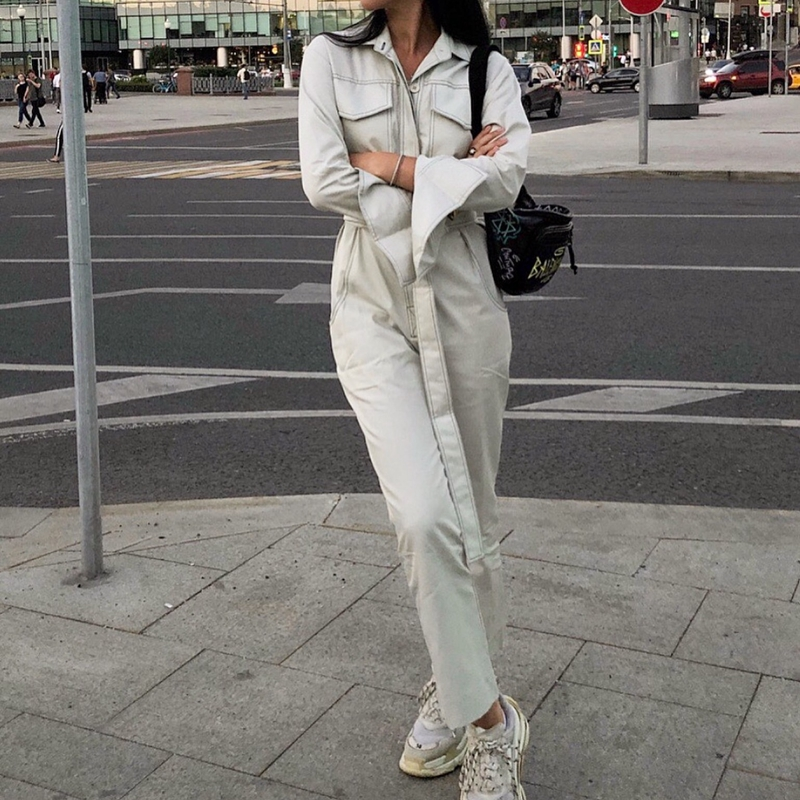 Autumn Winter Rompers Womens Jumpsuit Streetwear Pockets Sashes Long Sleeve Jeans Jumpsuit White Black One Piece Jumpsuit 2019