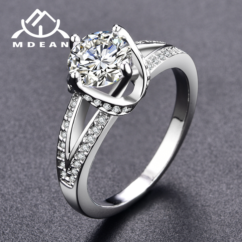 MDEAN White Gold Color Engagement Rings For Women AAA Zircon Jewelry luxury Wedding Bague Bijoux Accessories Size 6 7 8 9MSR098