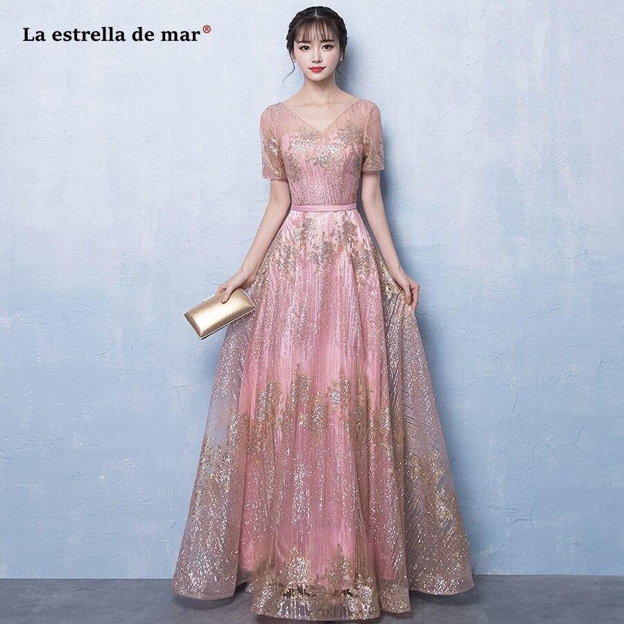 La estrella de mar long   dress   for wedding party for woman new tulle sequins sexy V neck half sleeve A Line blush pink   bridesmaid