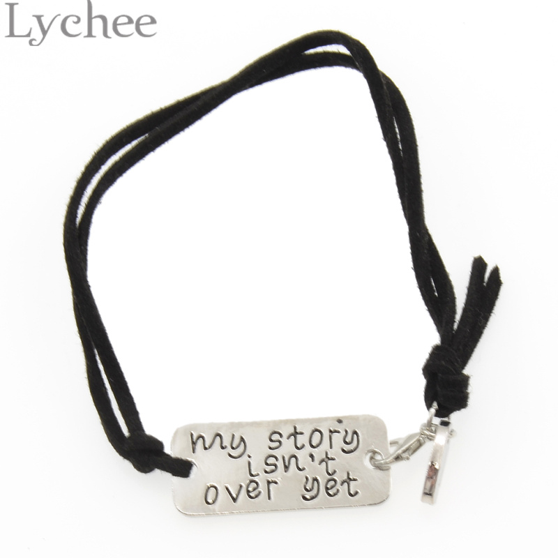 Lychee My Story isn't Over Yet Tag Bangle Bracelet Semicolon Bracelet Mental Health Awareness Jewelry for Men Women image