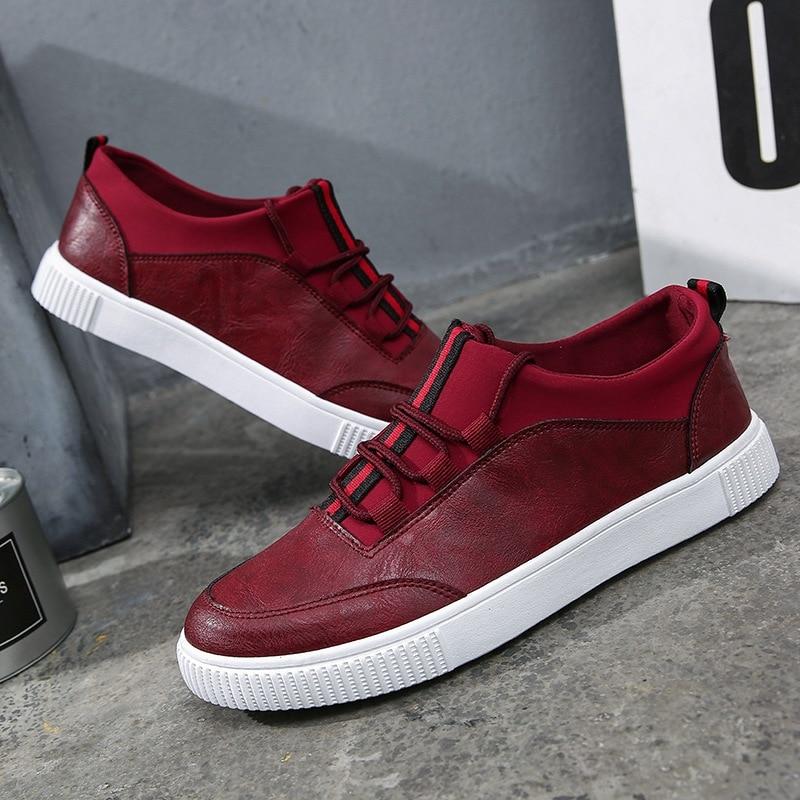 2018 Neue Herren Pu Leder Schuhe Mode Sneakers Lässige Loafers Wohnungen Skateboard Schuhe Low Cut Trend Creepers Marke Design